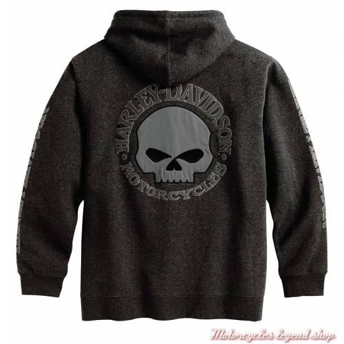 Sweatshirt Skull Harley-Davidson homme, zippé à capuche, gris, coton, polaire, dos, 99107-18VM