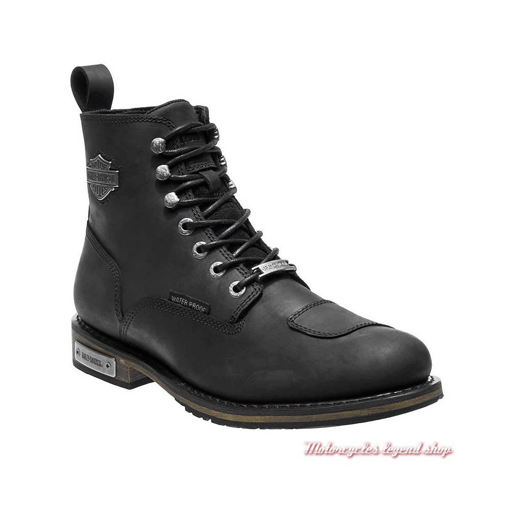 Chaussures Clancy Harley-Davidson homme, cuir noir, waterproof, homologuées, D97044