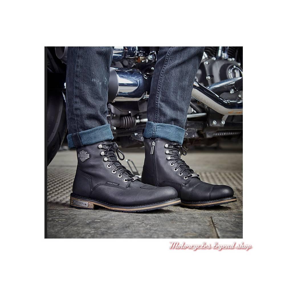 Chaussures Clancy Harley-Davidson homme, cuir noir, waterproof, homologuées, visuel, D97044