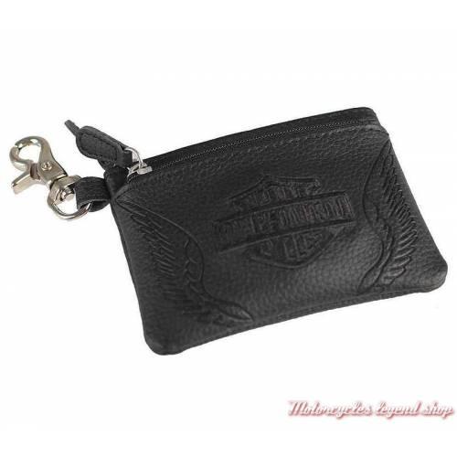 Porte monnaies B&S ailé, Harley-Davidson femme, cuir noir grainé, zips, mousqueton, ZWL7896-BLACK
