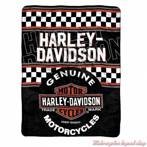 Plaid Finish Line Harley-Davidson, polaire douce polyester, noir, orange, blanc, 115 x 150 cm, 079922
