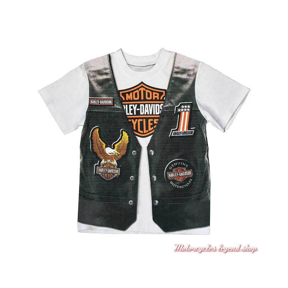 Tee-shirt Gilet garçon Harley-Davidson, impression gilet et patch, manches coutes, blanc, noir, coton, 1072625