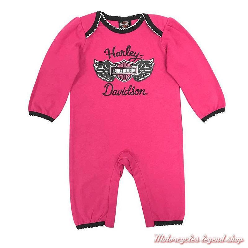 Combinaison bébé fille Harley-Davidson, sans pied, rose, noir, coton, polyester, 3003855