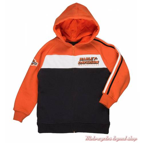 Sweatshirt Race garçon Harley-Davidson, zippé, cauche, noir, orange, blanc, coton, polyester, 6573869, 6583869, 6593869