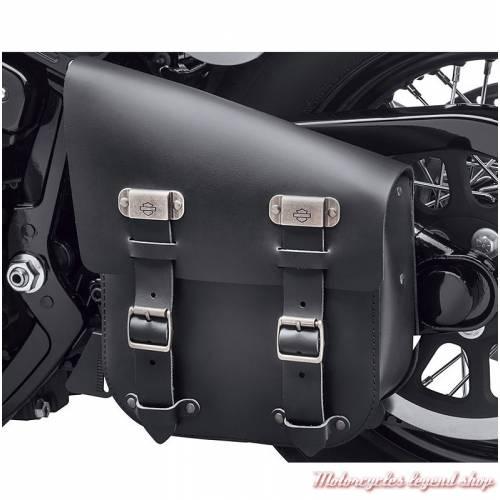 Sac de bras oscillant d'un seul côté, Harley-Davidson, cuir noir, pour Softail, visuel, 90201567