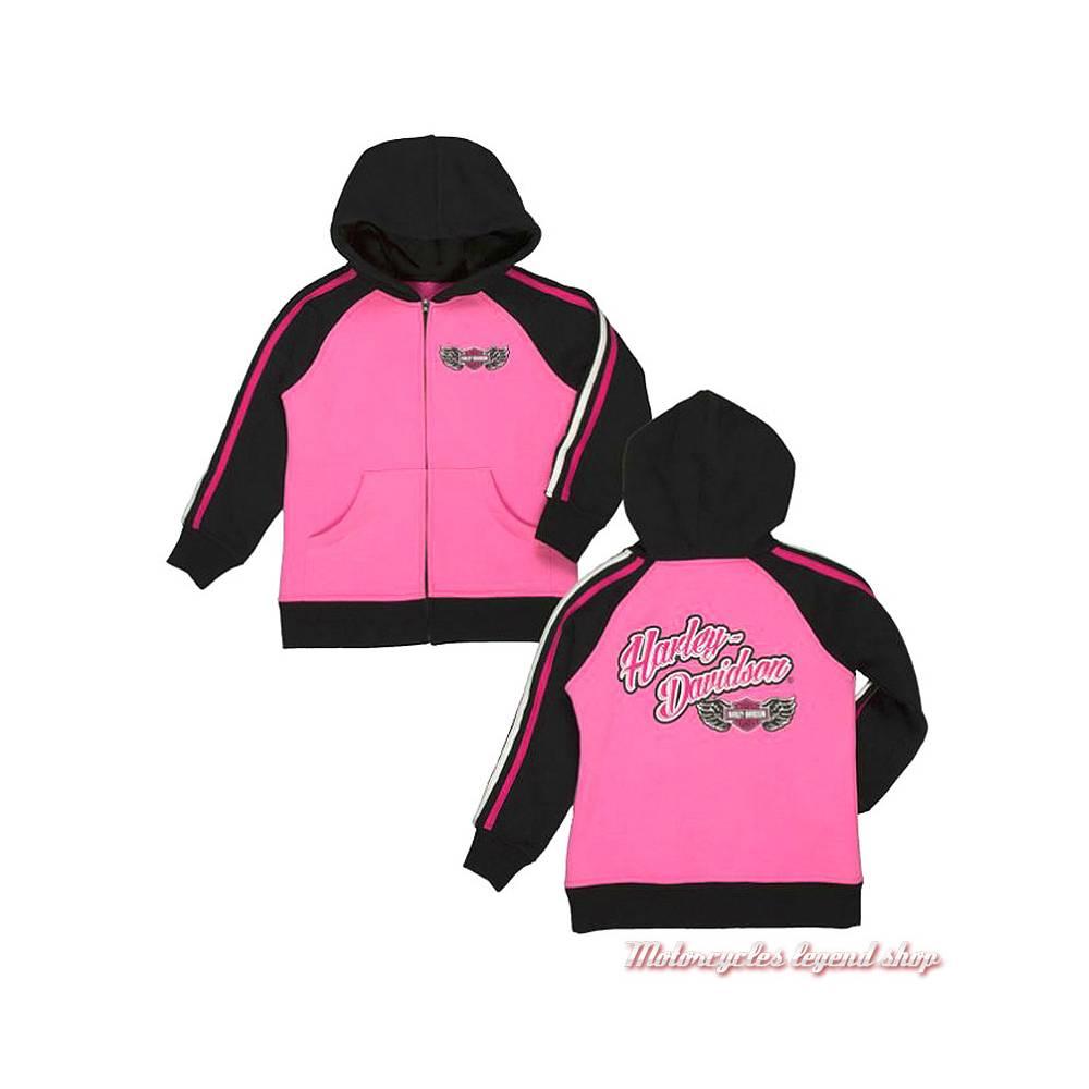 Sweatshirt fille Harley-Davidson, zippé, capuche, rose, noir, paillettes, coton, polyester, 6523871, 6533871, 6543871