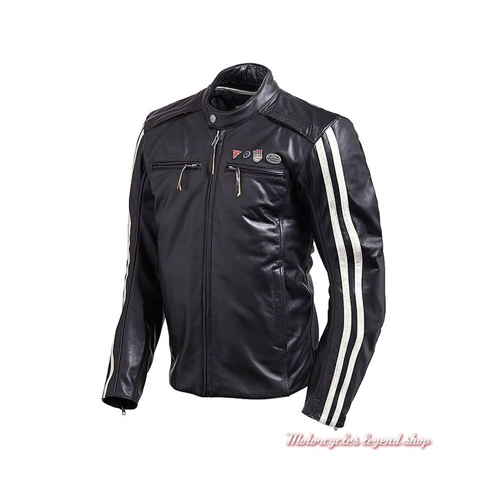 Blouson cuir Beachley Triumph homme, noir, vintage, pin's, bandes blanches, MLHA18105
