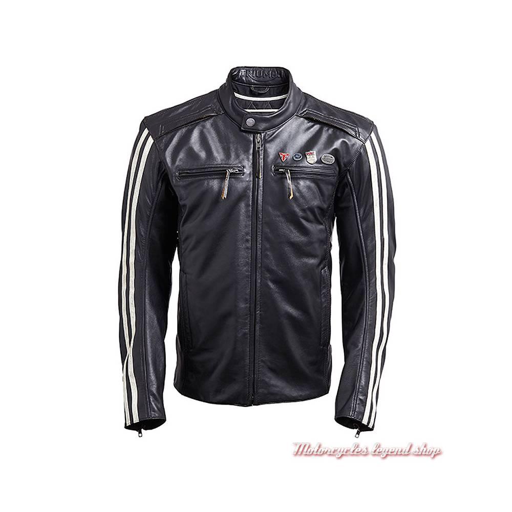 Blouson cuir Beachley Triumph homme, noir, vintage, pin's, bandes blanches, MLHA18105-2