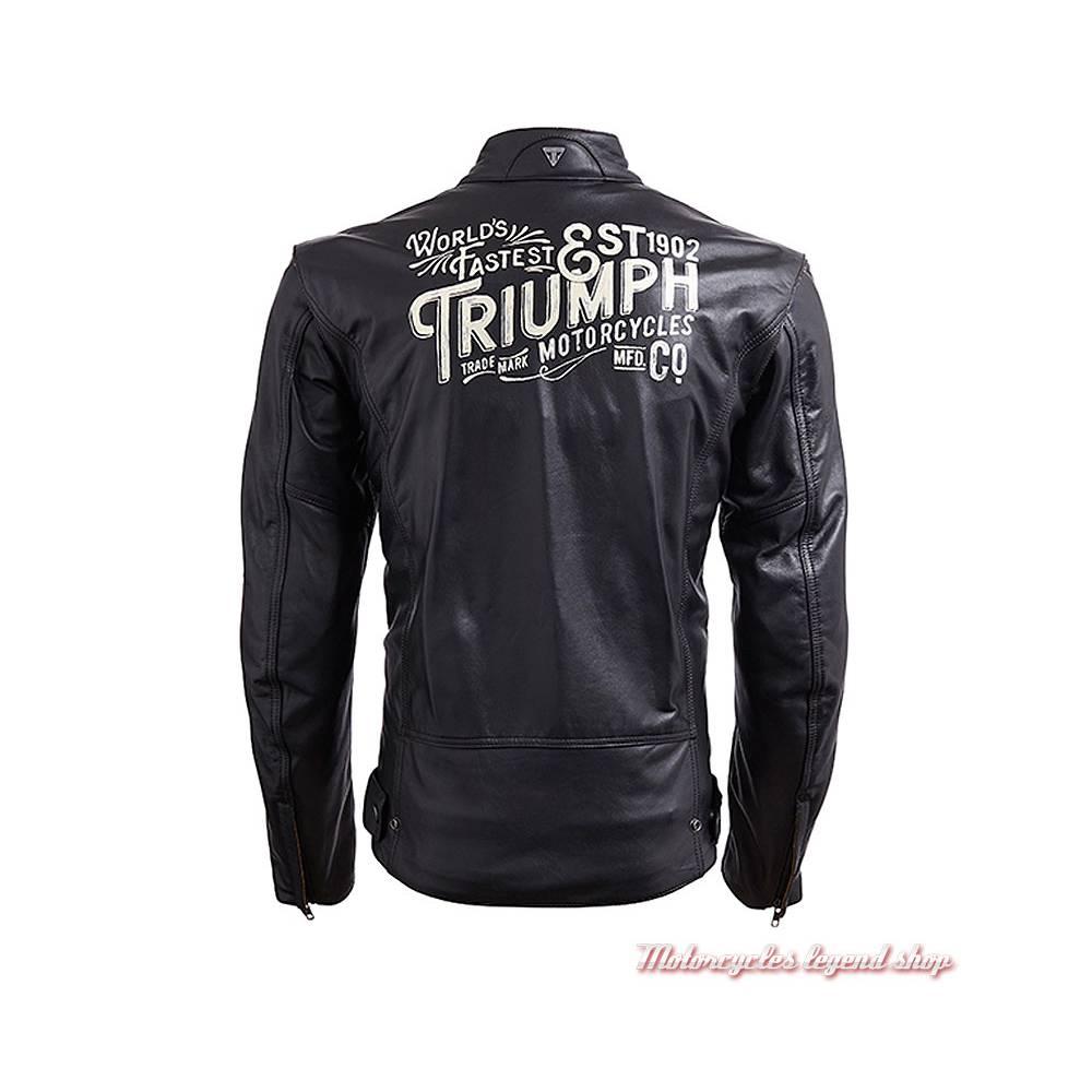 Blouson cuir Beachley Triumph homme, noir, vintage, pin's, bandes blanches, dos, MLHA18105
