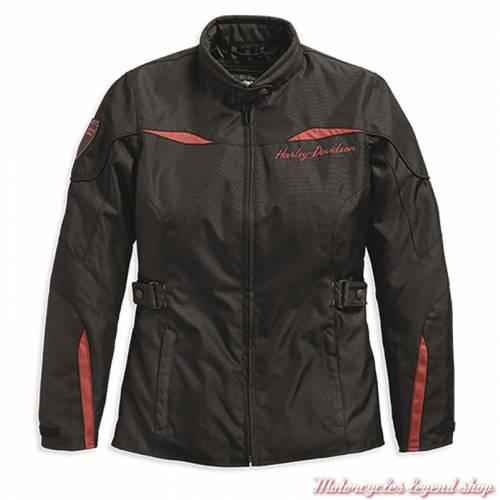 Blouson 3/4 textile Barrie Harley-Davidson femme, noir, orange, polyester, homologué, 97132-19EW