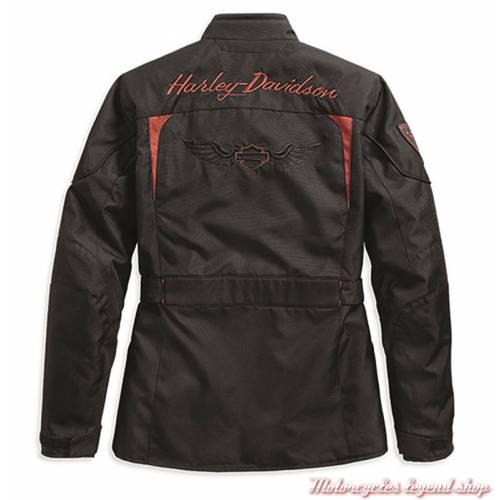 Blouson textile Barrie Harley-Davidson femme, noir, orange, polyester, homologué, dos, 97132-19EW