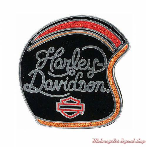 Pin's Candy Custom Harley-Davidson, casque, noir, rouge orange pailleté, P309812