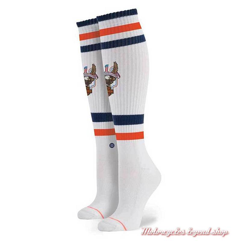 Chaussettes hautes Historic Harley-Davidson femme, blanches, W6000HIS