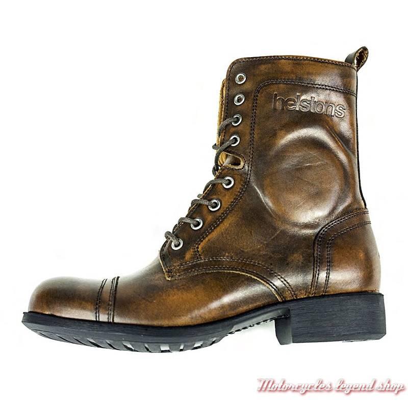 c39e50e090ad2 Chaussures Lady Helstons femme, cuir marron vintage, lacets et zip,  homologuées CE