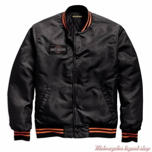 Blouson bomber Eagle Harley-Davidson homme, nylon, noir, orange, 97492-19VM