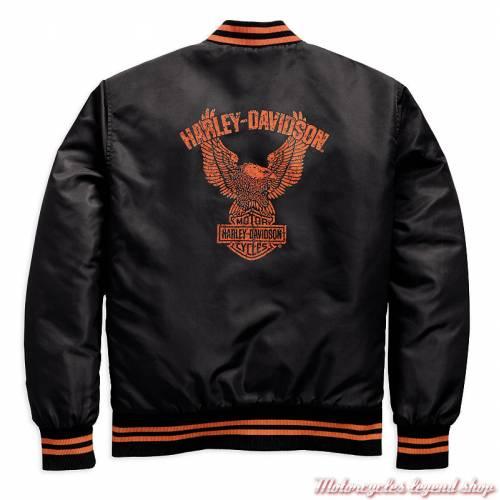 Blouson bomber Eagle Harley-Davidson homme, nylon, noir, orange, dos, 97492-19VM