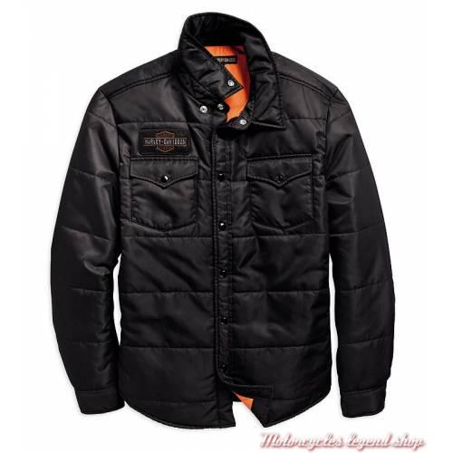 Surchemise matelassée Harley-Davidson homme, noir, nylon, doublure orange, 97494-19VM