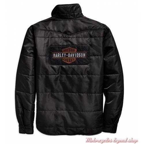 Surchemise matelassée Harley-Davidson homme, noir, nylon, doublure orange, dos, 97494-19VM
