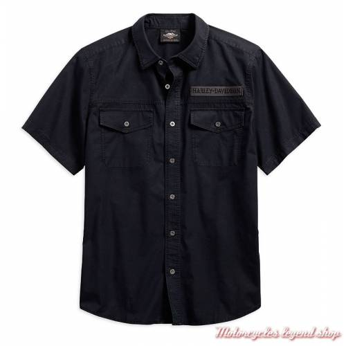 Chemisette Winged Skull Harley-Davidson homme, noir, coton, manches courtes, 96579-19VM