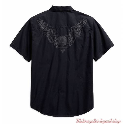 Chemisette Winged Skull Harley-Davidson homme, noir, coton, manches courtes, dos, 96579-19VM