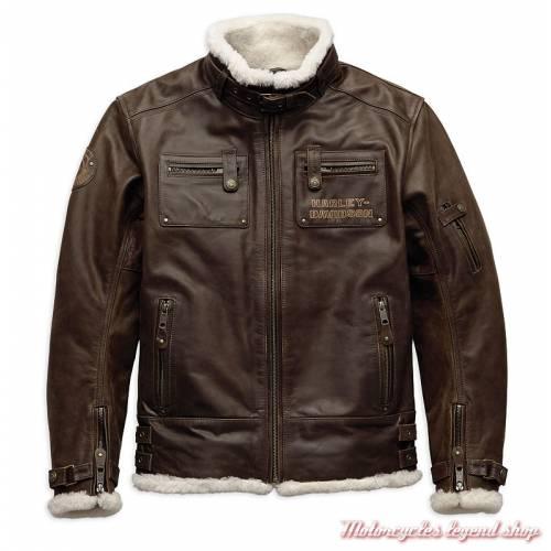 Blouson cuir Haxen Harley-Davidson homme, marron, fourré, bombardier, homologué CE, 97025-19EM