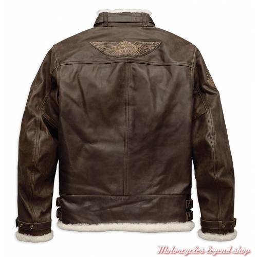 Blouson cuir Haxen Harley-Davidson homme, marron, fourré, bombardier, homologué CE, dos, 97025-19EM
