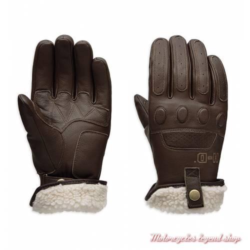 Gants Trently Harley-Davidson homme, cuir marron, sherpa, homologués CE, 97139-19EM