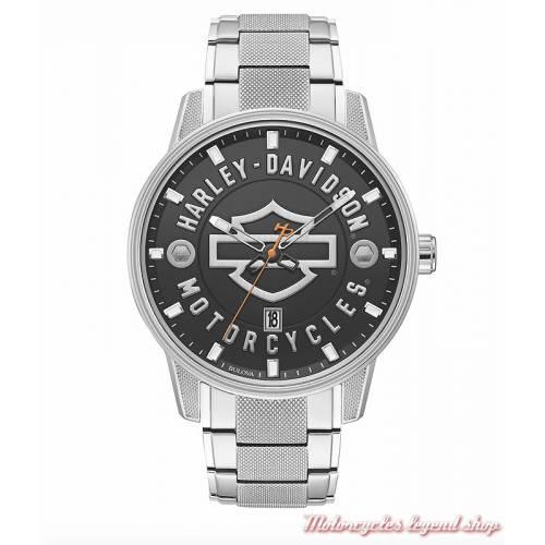 Montre Harley-Davidson homme, bracelet acier, 76B182
