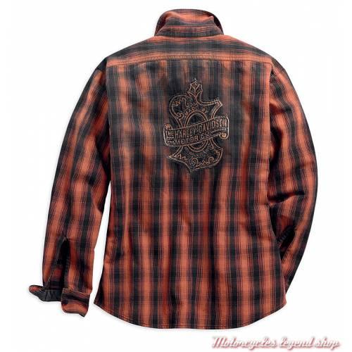 Chemise à carreaux Oak Leaf Harley-Davidson femme, coton, noir orange, manches longues, dos, 99036-18VW