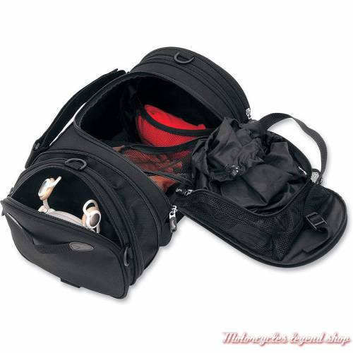 Sac Roll Bag Deluxe Saddlemen, BAG R1300LXE, 24 litres, extensible, tissu noir, simili cuir; ouvert, 3515-0075