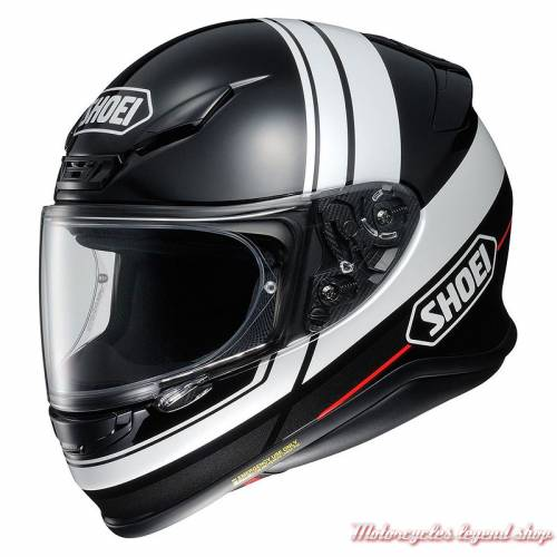 Casque NXR Philosopher TC-5 Shoei, noir brillant, bandes blanches