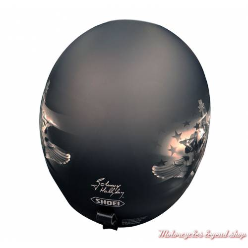 Casque J.O Johnny Hallyday Shoei, noir mat, initiales et signature Johnny Hallyday, dos