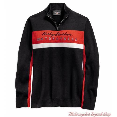 Pull Ski Harley-Davidson femme, col zip, moir, orange, coton, laine, 96392-19VW