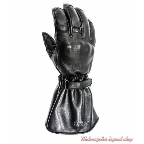 Gants cuir hiver Challenger Helstons homme, noir, manchette, homologué CE