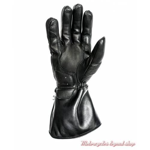 Gants cuir hiver Challenger Helstons homme, noir, manchette, homologué CE, paume