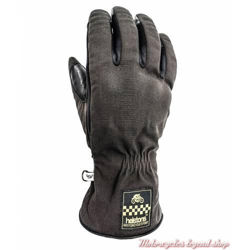 Gants tissu cuir hiver One Helstons homme, marron, noir, manchette, homologué CE