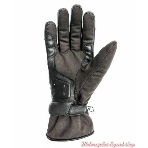 Gants tissu cuir hiver One Helstons homme, marron, noir, manchette, homologué CE, paume