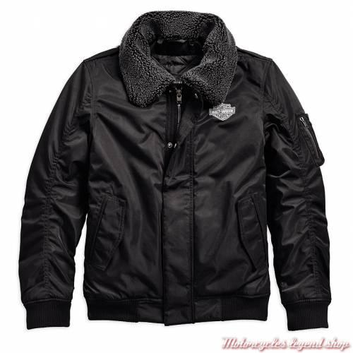 Blouson bomber Enders Harley-Davidson homme, noir, polyester, col sherpa, 97142-19EM