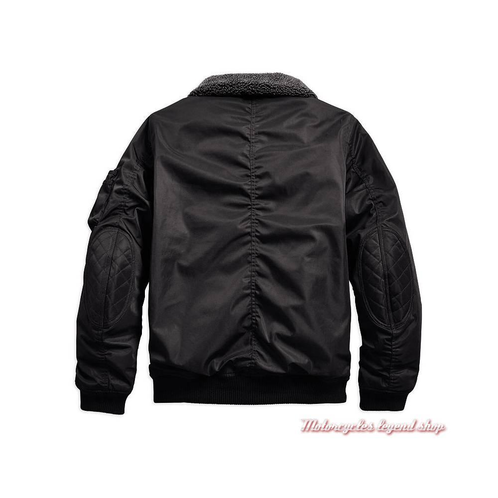 Blouson bomber Enders Harley-Davidson homme, noir, polyester, col sherpa, dos, 97142-19EM