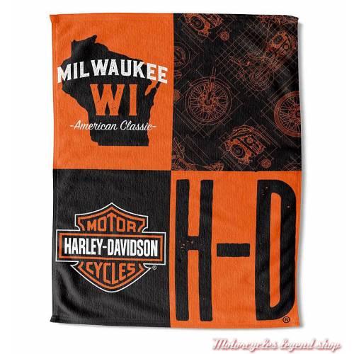 Serviette de plage History Harley-Davidson , noir, orange, coton, polyester, 135 x 170 cm, 522596