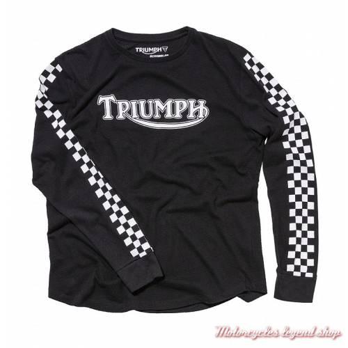 Tee-shirt Banks Triumph Scrambler homme, manches longues, noir, coton, vintage, MTLA18209