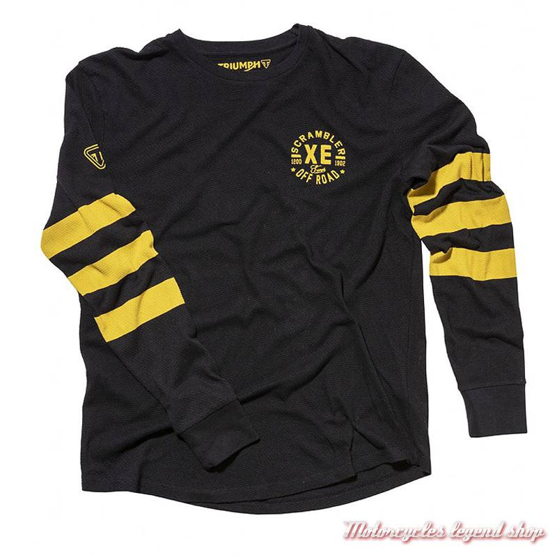 Tee-shirt Archer TriumphScrambler homme, manches longues, noir, jaune, coton, vintage, MTLA18208