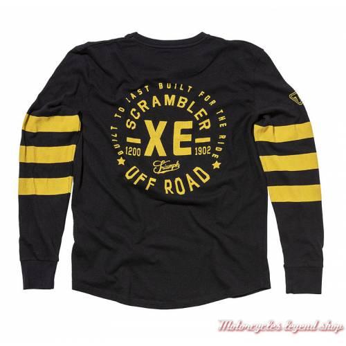 Tee-shirt Archer TriumphScrambler homme, manches longues, noir, jaune, coton, vintage, dos, MTLA18208