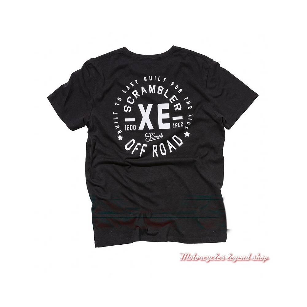 Tee-shirt Bickers Triumph Scrambler homme, manches courtes, noir, coton, dos, MTSA18212