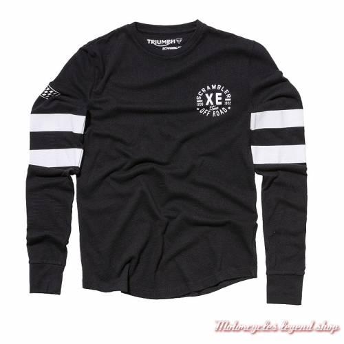 Tee-shirt Emma Triumph Scrambler femme, manches longues, noir, blanc, coton, vintage, MTLA18216