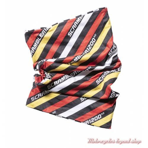 Tour de cou Scrambler 1200 XE Triumph, vintage, rayé, rouge, jaune, noir, polyester, MTUA18322