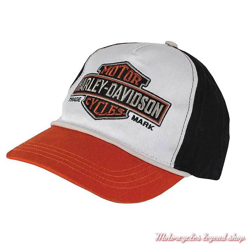 Casquette baseball Harley-Davidson enfant, 4-14 ans, coton, noir, blanc, orange, 7280619
