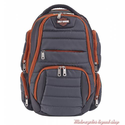 Sac à dos Harley-Davidson rembourré multi compartiments, nylon, gris orange, noir, 99319