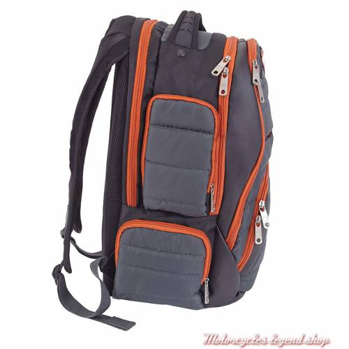 Sac à dos Harley-Davidson rembourré multi compartiments, nylon, gris orange, noir, côté, 99319