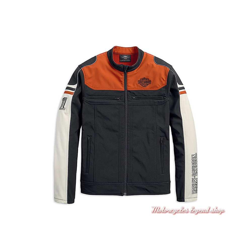 Blouson polaire Colorblock Harley-Davidson homme, soft shell, polyester, noir, orange, écru, 98405-19VM
